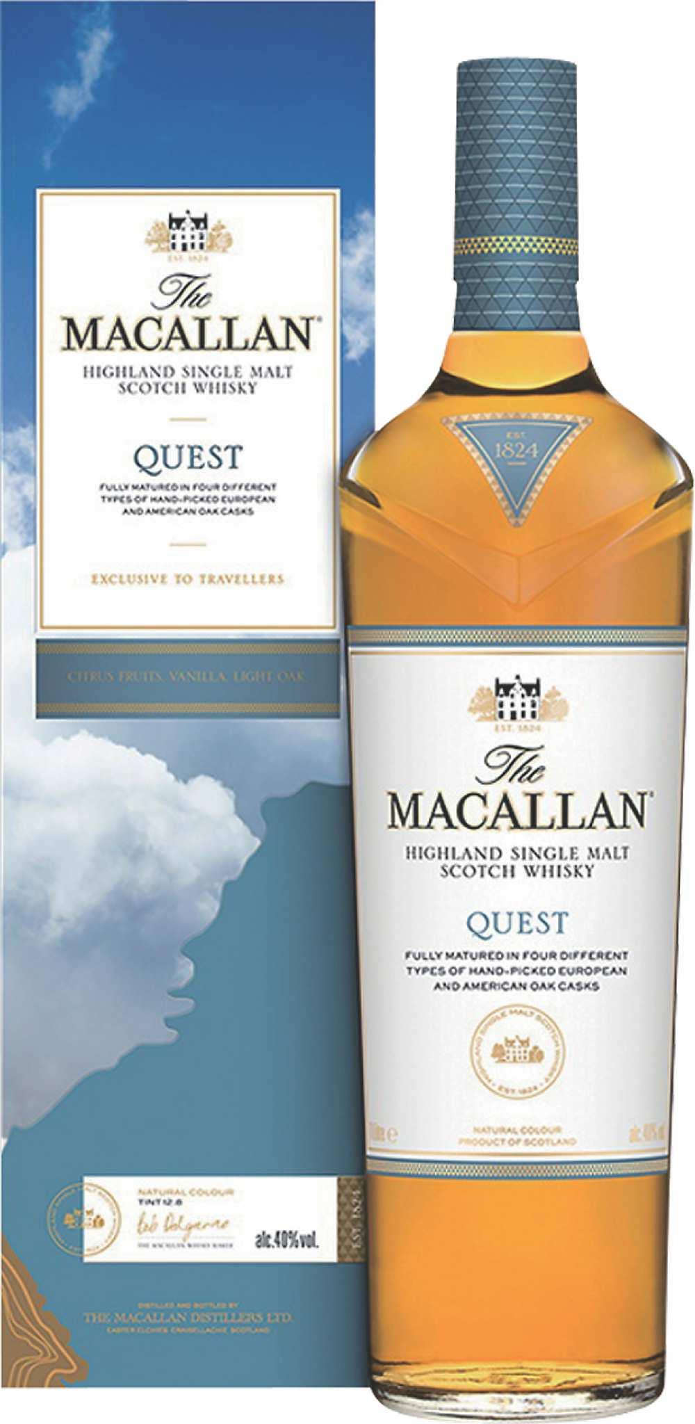 ●愛買量販獨家販售「麥卡倫QUEST藍天單一麥芽威士忌」1,000ml/瓶,原價:1,599元、特價:1,299元。圖/業者提供